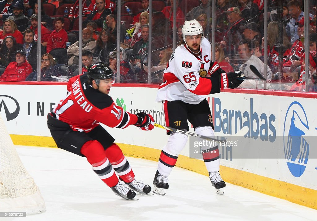 separation shoes ee6ad 73b47 PA Parenteau of the New Jersey Devils and Erik Karlsson of ...