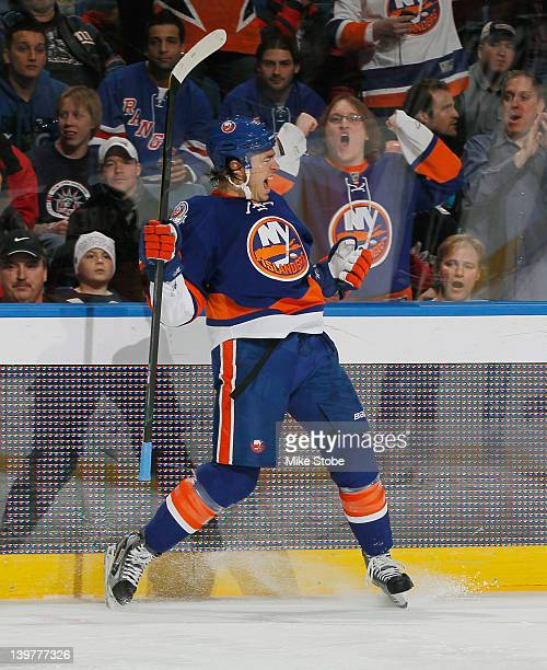 Parenteau of the New York Islanders celebrates his first period goal during the game against the New York Rangers at Nassau Veterans Memorial...