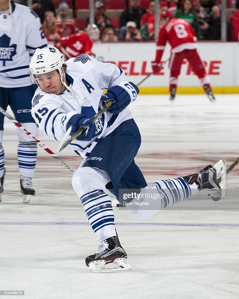 P.A. Parenteau #15 of the Toronto Maple Leafs skates in warm-ups prior to the NHL game against the Detroit Red Wings at Joe Louis Arena on March 13, 2016 in Detroit, Michigan.