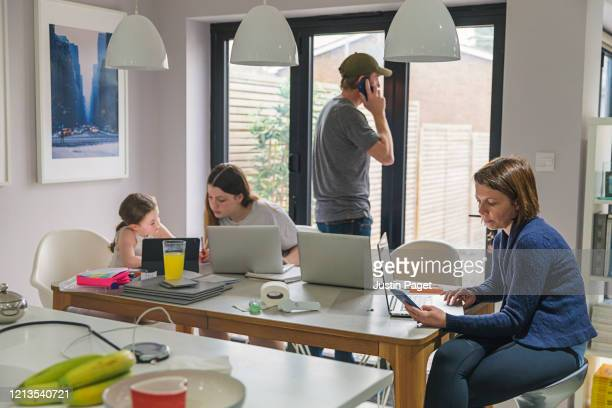 parents and children all working from home - homeschool stock pictures, royalty-free photos & images