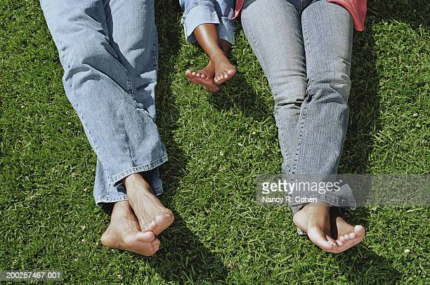 parents and daughter (4-6) lying in grass, legs crossed, low section - nancy green stock pictures, royalty-free photos & images