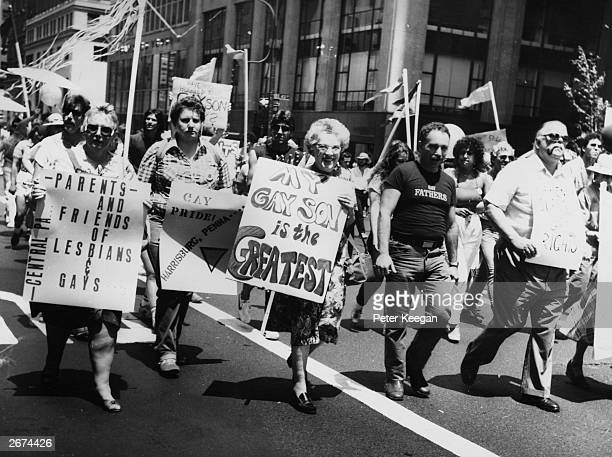 Parents and friends of lesbians and gays taking part in the 1983 Gay Pride Parade New York City on the 13th anniversary of the founding of the Gay...