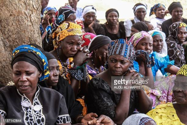 TOPSHOT Parents and relatives attend a commemoration five years after their girls were abducted by Boko Haram Jihadists group on April 14 2019...