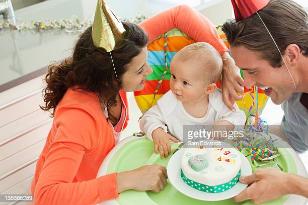 Parents celebrating baby