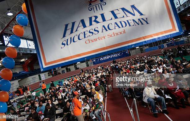Parents children and family members wait to hear if their students will be awarded a coveted slot at the Harlem Success Academy charter school system...