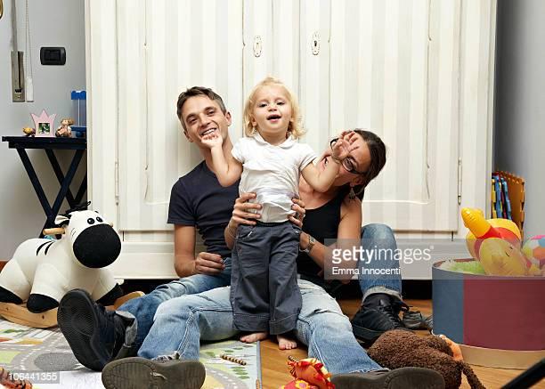 parents, daughter, messy bedroom, portrait, fun