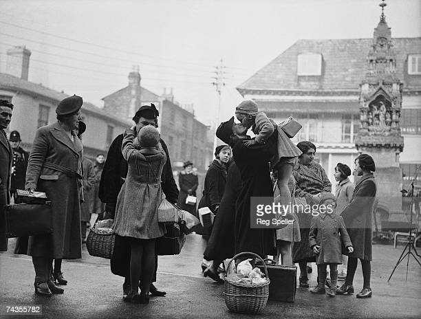 Parents from London are reunited with their evacuated children in Saffron Walden, Essex, during World War II, 22nd October 1939. Nearly 1,000 parents...