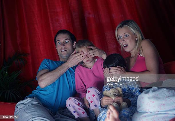 Parents hiding children's eyes from television
