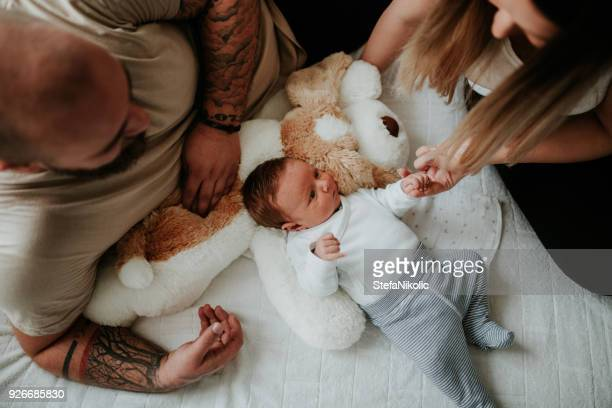 Parents home from hospital with newborn baby