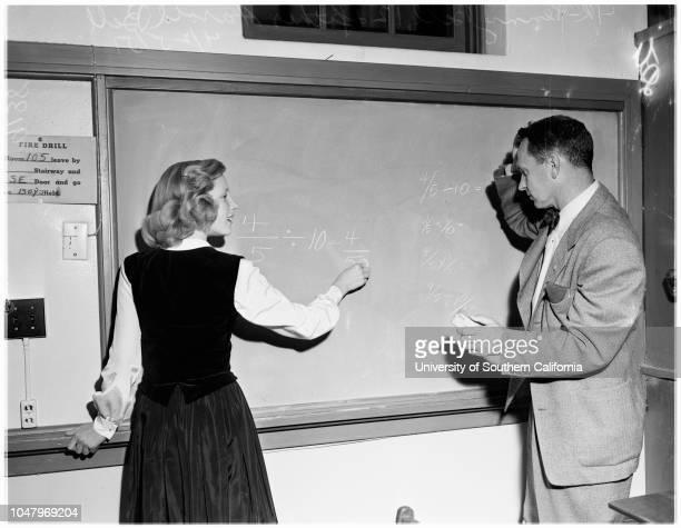 Parents in school -- Foshay Jr. High School, April 25, 1951. Miss Helene Parker ;Penny Bell -- 12 years;Harold Bell ;Miss Mary Berckham;Andrea...