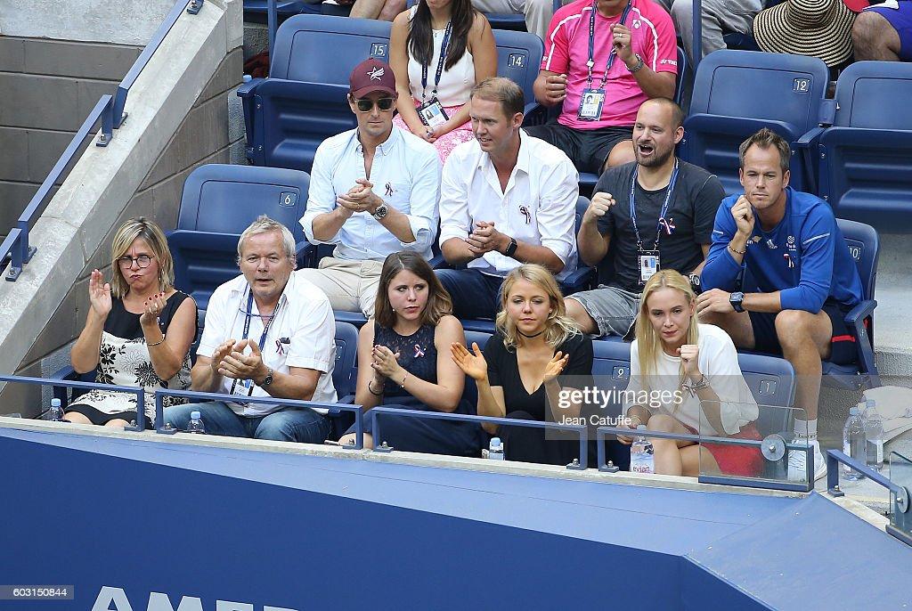 Parents Isabelle Wawrinka and Wolfram Wawrinka, sisters Djanaee Wawrinka and Naella Wawrinka, girlfriend Donna Vekic of Croatia attend the men's final between Stan Wawrinka and Novak Djokovic at Arthur Ashe Stadium on day 14 of the 2016 US Open at USTA Billie Jean King National Tennis Center on September 11, 2016 in New York City.