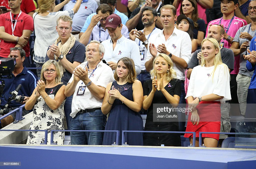 Parents Isabelle Wawrinka and Wolfram Wawrinka, sisters Djanaee Wawrinka and Naella Wawrinka, girlfriend Donna Vekic of Croatia attend the trophy presentation following Stan's victory in the men's final at Arthur Ashe Stadium on day 14 of the 2016 US Open at USTA Billie Jean King National Tennis Center on September 11, 2016 in New York City.