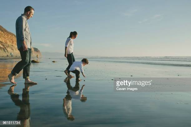 parents looking at son picking pebble from shore at beach against sky - family beach holiday stock pictures, royalty-free photos & images