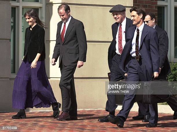 Parents Marilyn Walker and Frank Lindh and Lawers for American Taliban John Walker Lindh James Brosnahan and George Harris walk to the Albert V Bryan...