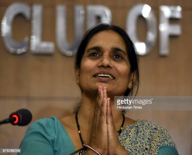 Parents of December 16 2012 Damini Rape Case victim addressing the media at Press Club of India after the Supreme Court pronounced verdict on the...