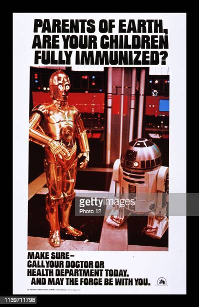 Parents of Earth 1977 American Public health poster to raise awareness of immunization.