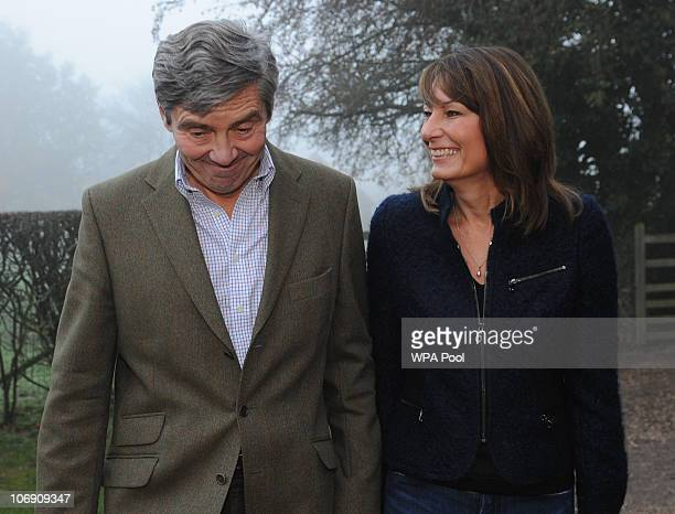 Parents of Kate Middleton Michael and Carole Middleton make a statement following the engagement of their daughter to Prince William outside their...