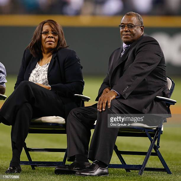 Parents of Ken Griffey Jr Ken Griffey Sr and wife Birdie look on during a ceremony inducting their son Ken Griffey Jr into the Seattle Mariners Hall...