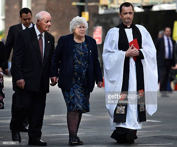 Parents of killed British police officer Yvonne Fletcher Tim and Queenie Fletcher arrive with police chaplain Jonathan Osborne for a remembrance...