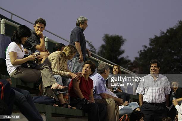 Parents of players sit in the stands during the FIFA Women's Football Initiative on October 27 2011 in Asuncion Paraguay