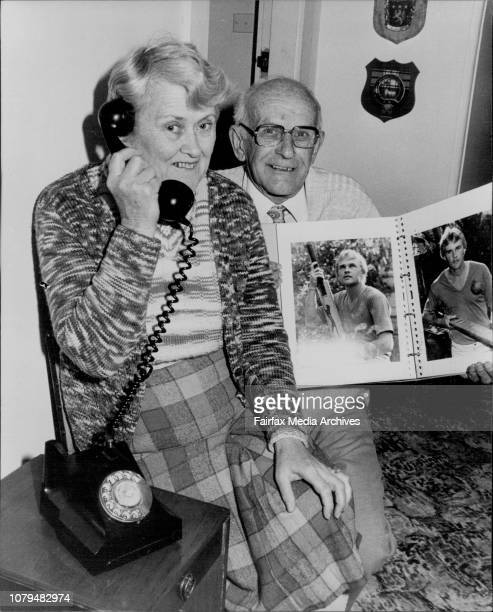 Parents of Test Batsman Dirk Wellham speak to him on the phone at their Enfield home this morning Mrs Nancy Wellham father Mr Charles Wellham...