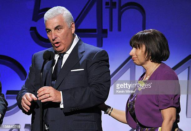 Parents of the late Amy Winehouse Mitch and Janis Winehouse along with Tony Bennett accept the award for Best Pop Duo/Group Performance for Body and...