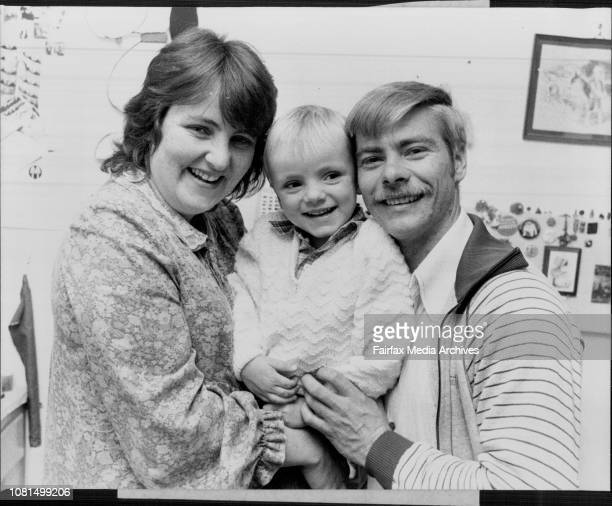 Parents of tonsillitis victim Kelly Anna Krastins ***** Ludvics and Mrs Judy Krastins with there 4yr old son David at Revesby today June 16 1983