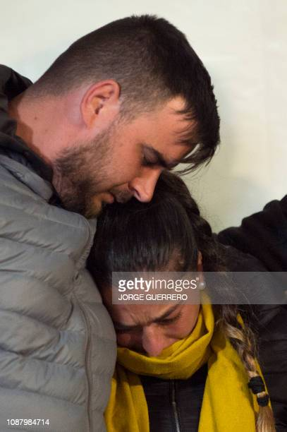Parents of twoyearold Julen Rosello hug in Totalan southern Spain on January 24 2019 Miners were lowered on a cage to rescue twoyearold Julen Rosello...