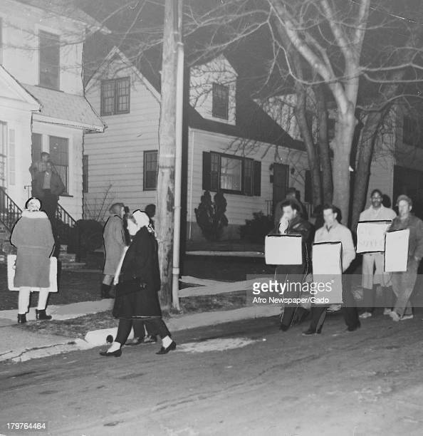 Parents picket in protest of white kids being sent to mostly colored schools, Orange, New Jersey, April 11, 1964.