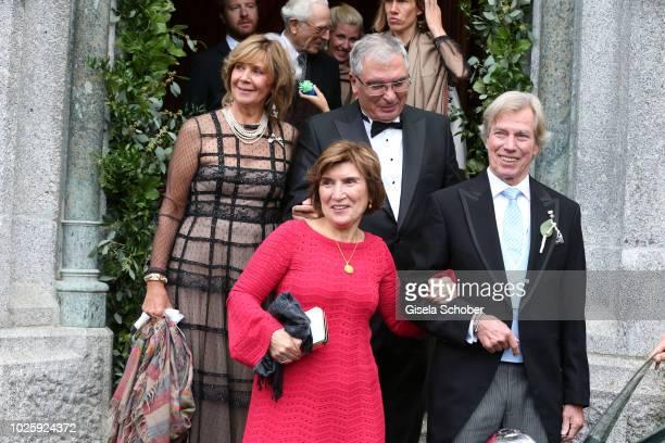 Parents Princess Ursula Uschi of Bavaria and Metin Kaya Guelseren Kaya and Leopold Poldi of Bavaria during the wedding of Prince Konstantin of...