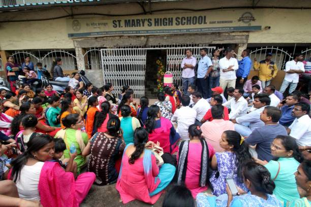 IND: Parents Protest Outside St Mary School In Kalyan Against The Rampant Fee Hike