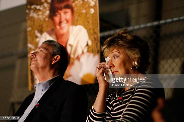Parents Richard and Elizabeth Jones attend a memorial for their daughter Sarah Jones an assistant camerawoman who was killed by a train while...