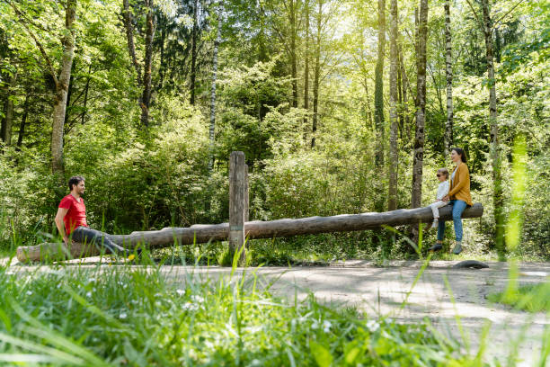 Parents with daughter playing on wooden seesaw against trees in forest
