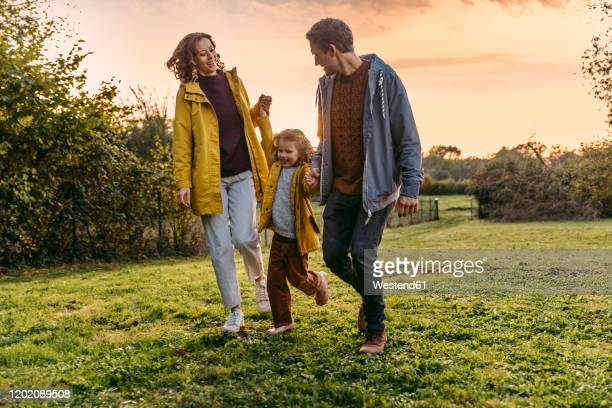 parents with daughter walking on a meadow in autumn - crepuscolo foto e immagini stock