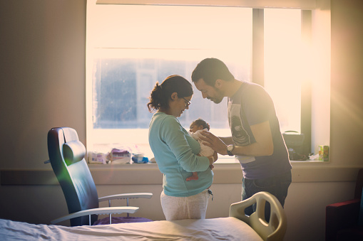 Parents with newborn at hospital - gettyimageskorea