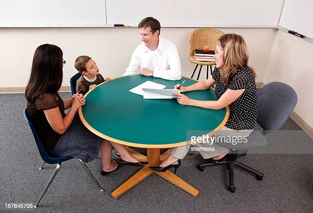 Parent-Teacher Conference from High Angle