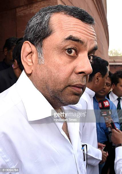 Paresh Rawal after attending the Parliament Budget Session ahead of the release of the budget at Parliament House on February 29 2016 in New Delhi...