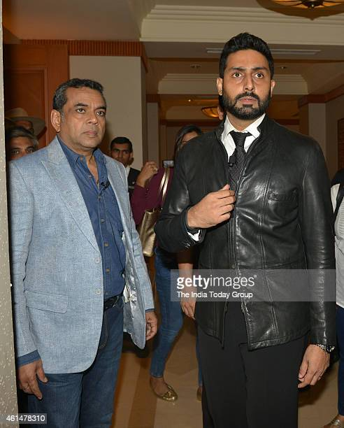 Paresh Rawal and Abhishek Bachchan at the announcement ceremony of Hera Pheri 3