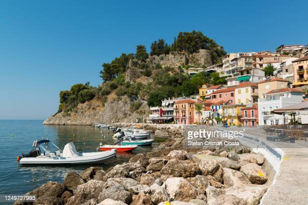 parga harbour and colorful houses in greece - epirus greece stock pictures, royalty-free photos & images