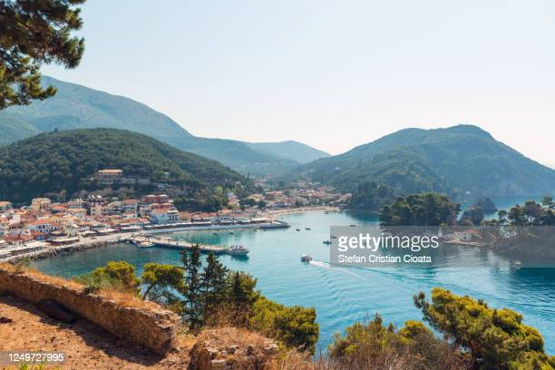 parga town and bay in a summer day - epirus greece stock pictures, royalty-free photos & images