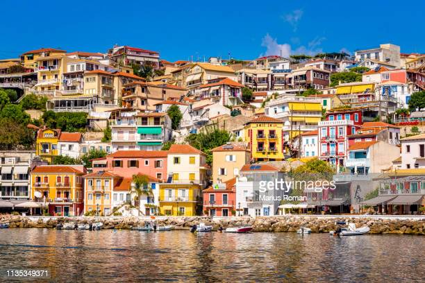 parga town, preveza, epirus, greece. - epirus greece stock pictures, royalty-free photos & images