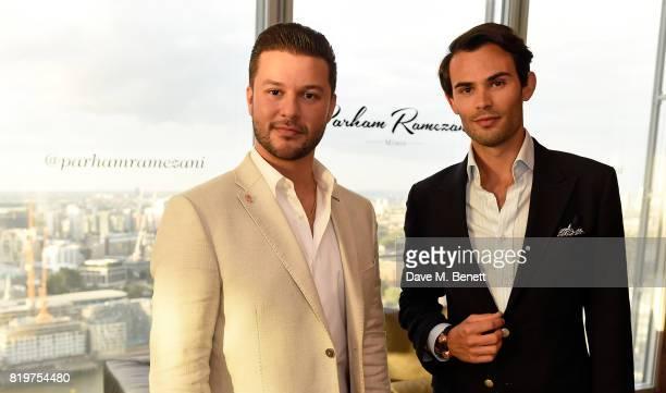 Parham Ramezani and MarkFrancis Vandelli attend Parham Ramezani X Jenson Button jewellery launch at The Shard on July 20 2017 in London England