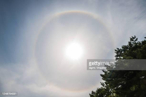 parhelion phenomenon on seolbongsan mountain, icheon, south korea - light natural phenomenon stock pictures, royalty-free photos & images