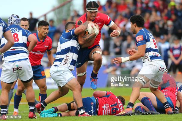 Pari Pari Parkinson drives his way through the Auckland defence during the Mitre 10 Cup Premiership Semi Finals match between Tasman and Auckland at...