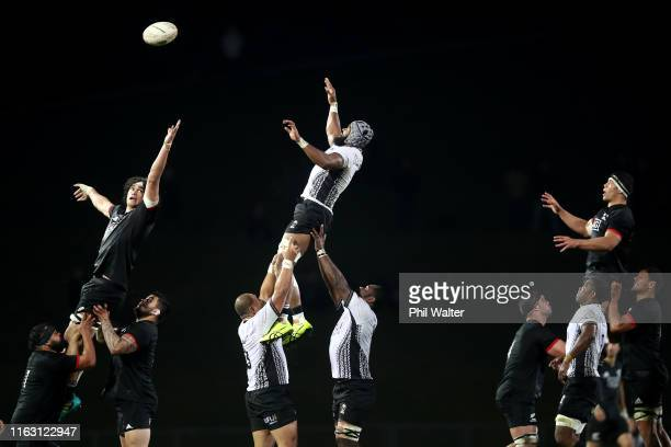 Pari Pari Parkinson of NZ Maori and Dominiko Waqaniburotu of Fiji contest the lineout during the second test match between the Maori All Blacks and...