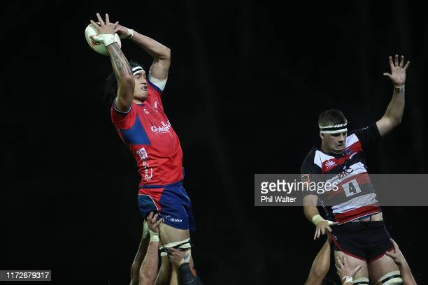 Pari Pari Parkinson of Tasman takes the ball in the lineout during the round 5 Mitre 10 Cup match between Counties Manukau and Tasman on September...