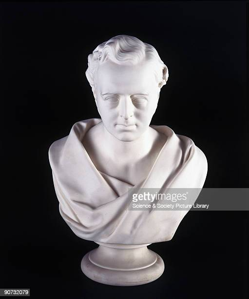 Parian ware bust of Robert Stephenson English engineer and the son of George Stephenson whom he assisted with the survey of the Stockton Darlington...