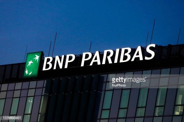 Paribas logo is seen on the office building in Krakow, Poland on December 1, 2020.