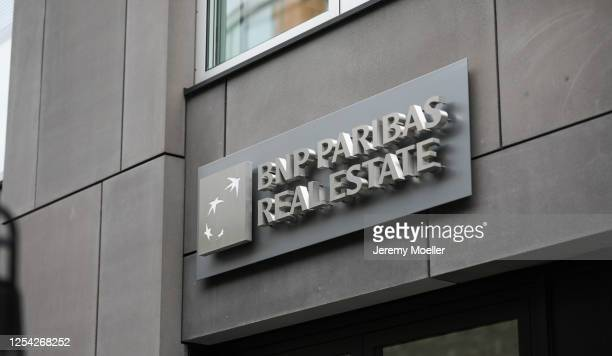 Paribas Real Estate sign store is seen on July 03, 2020 in Hamburg, Germany.