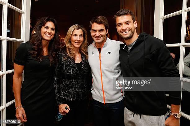 BNP Paribas Showdown players Gabriela Sabatini at Monica Seles Roger Federer and Grigor Dimitrov pose for a photo prior to the start of a press...